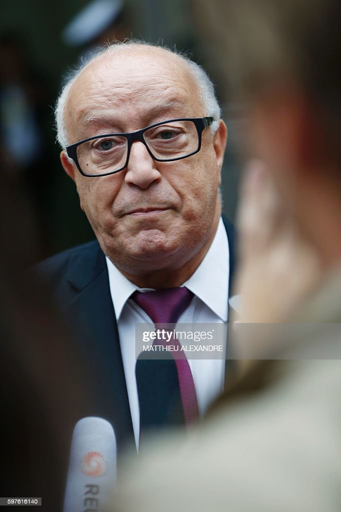 The general secretary of the French Council of Muslim Faith Abdallah Zekri speaks to journalists before a meeting with Interior minister and...