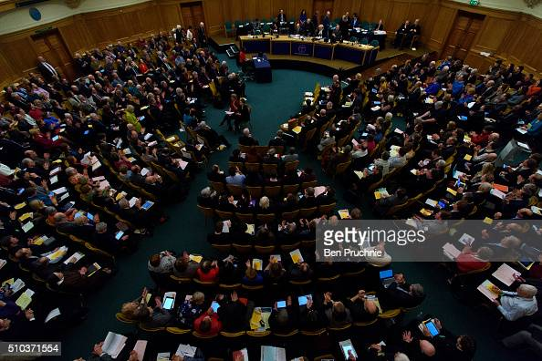 The General Synod listen to a speech by The Archbishop of Canterbury Justin Welby during the General Synod on February 15 2016 in London England The...