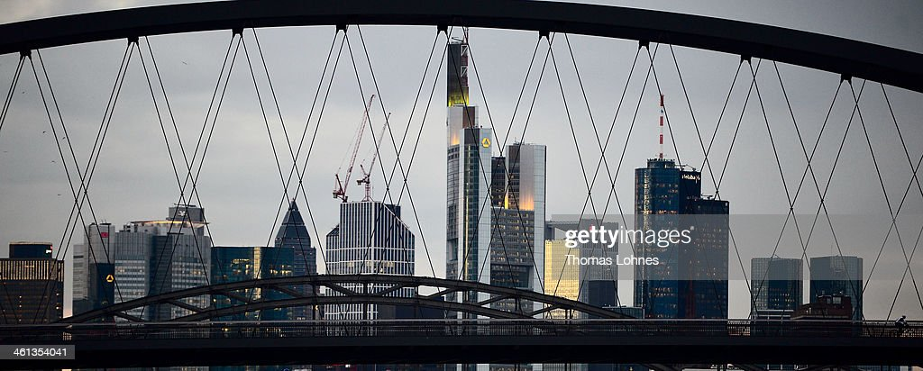 The General view from the eastside to the skyline of Frankfurt with the skycrapers on January 07, 2014 in Frankfurt am Main, Germany. Many skycrapers in the financial district belong to leading European banks.