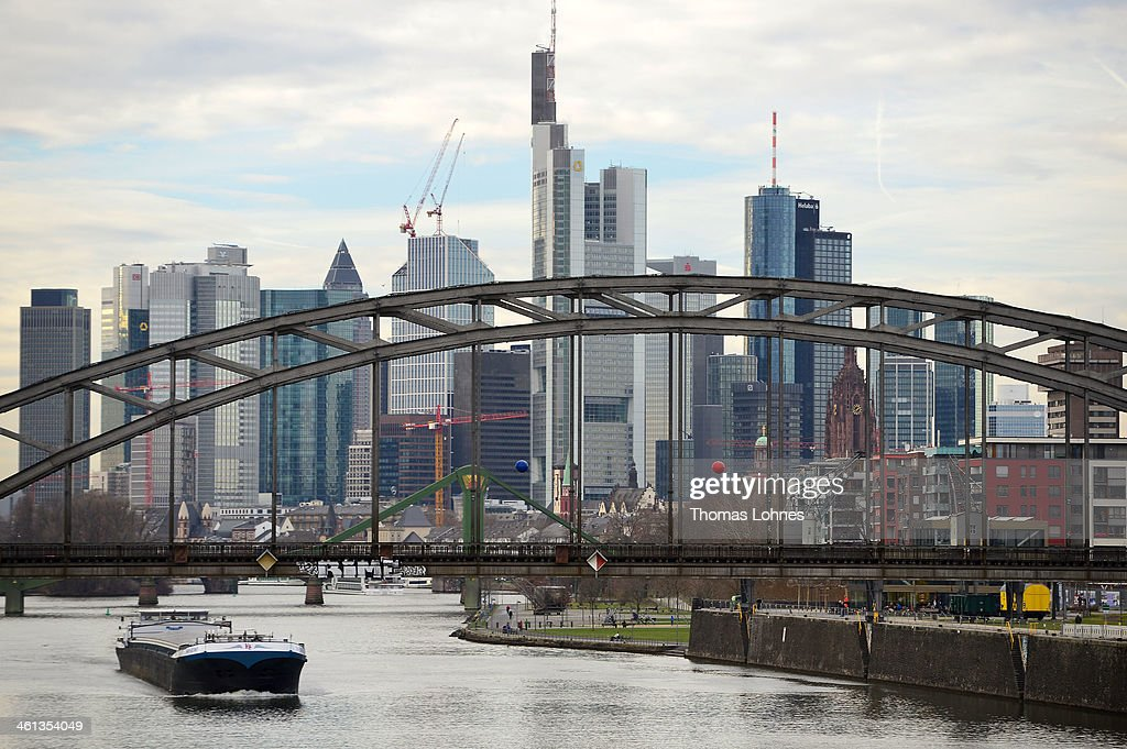 The General view from the eastside to the skyline of Frankfurt with the skycrapers on January 07, 2013 in Frankfurt am Main, Germany. Many skycrapers in the financial district belong to leading European banks.