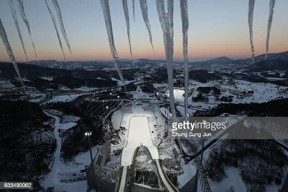 The general view of Alpensia Ski Jumping Centre in Alpensia Resort Park ahead of PyeongChang 2018 Winter Olympic Games on February 2 2017 in...
