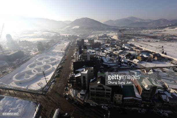 The general view of Hoenggye town near the venue for the Opening and Closing ceremony ahead of PyeongChang 2018 Winter Olympic Games on February 4...