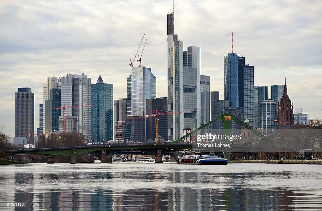 The General view of the city's sjyscrapers from the eastside to the skyline of Frankfurt on January 07, 2014 in Frankfurt am Main, Germany. Many skycrapers in the financial district belong to leading European banks.