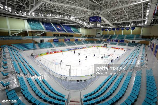 The general view of the Kwandong Hockey Centre venue for the Ice Hockey ahead of PyeongChang 2018 Winter Olympic Games on April 8 2017 in Gangneung...