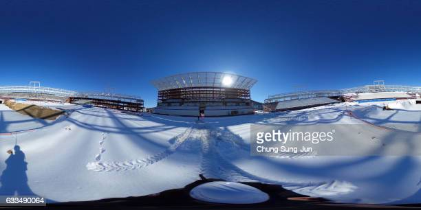 The general view of the Olympic Plaza venue for the Opening and Closing ceremony as construction continues ahead of the 2018 PyeongChang Winter...