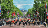 The General's Review makes its way down The Mall prior to Trooping The Colour in two weeks time on May 30 2015 in London England
