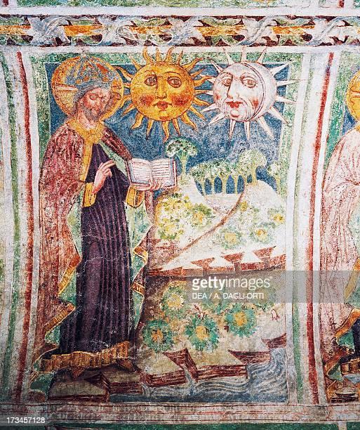 The Genesis God creates the sun the moon and the stars detail from the frescoes by Janez Iz Kastva Trinity Church Hrastovlje fortified church Slovenia