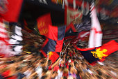 The Genoa CFC fans show their support before the Serie A match between Genoa CFC and UC Sampdoria at Stadio Luigi Ferraris on September 28 2014 in...