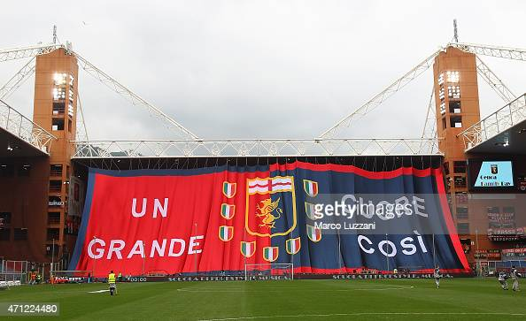 The Genoa CFC fans show their support during the Serie A match between Genoa CFC and AC Cesena at Stadio Luigi Ferraris on April 26 2015 in Genoa...