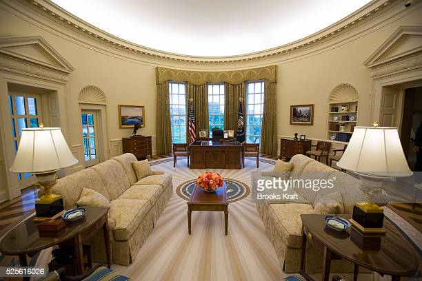 The George W Bush Presidential Center includes a complete replica of the White House Oval Office on the campus of Southern Methodist University in...