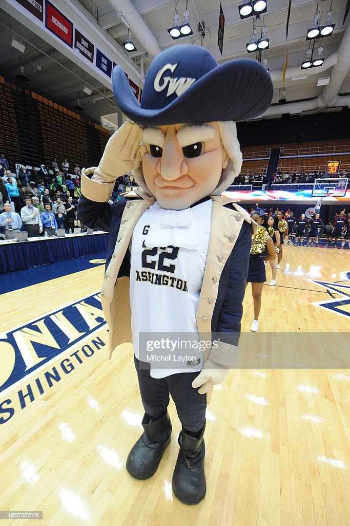 The George Washington Colonials mascot looks on before a college basketball game against the Duquesne Dukes on January 30, 2013 at the Smith Center in Washington, DC. The Dukes won 63-59 in double overtime.