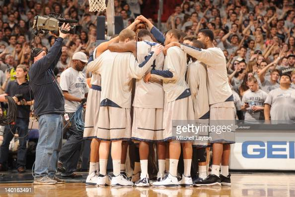 The Georgetown Hoyas huddle before a college basketball game against the Villanova Wildcats on February 25 2012 at the Verizon Center in Washington...