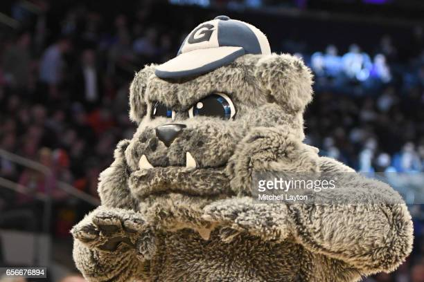 The Georgetown Hoyas mascot on the floor during the Big East Basketball Tournament First Round game against the St John's Red Storm at Madison Square...