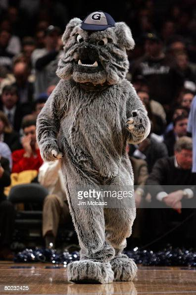 The Georgetown Hoyas mascot performs during a break in play against the Villanova Wildcats during day two of the 2008 Big East Men's Basketball...