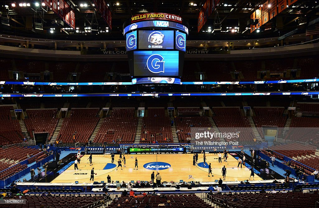 The Georgetown Hoyas practice before the first round of the NCAA Tournament at the Wells Fargo Center on Thursday, March 21, 2013.