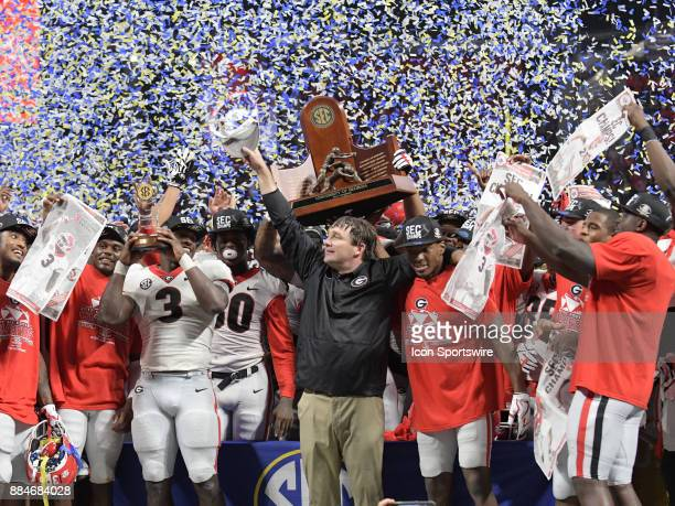 The Georgia Bulldogs celebrating after winning the SEC Championship game between the Georgia Bulldogs and the Auburn Tigers on December 02 at...