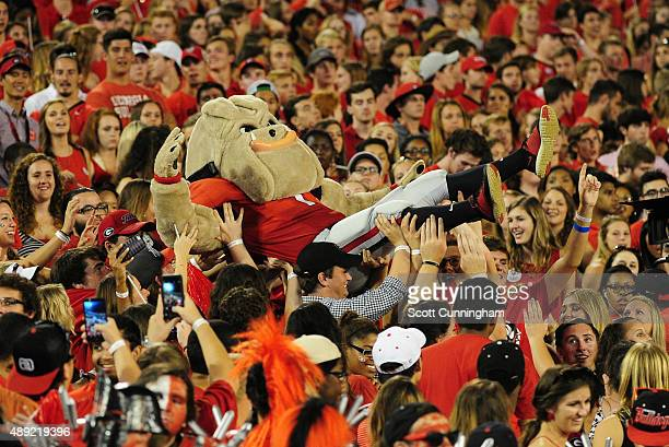 The Georgia Bulldogs mascot Hairy Dog goes crowd surfing during the game against the South Carolina Gamecocks on September 19 2015 in Atlanta Georgia...