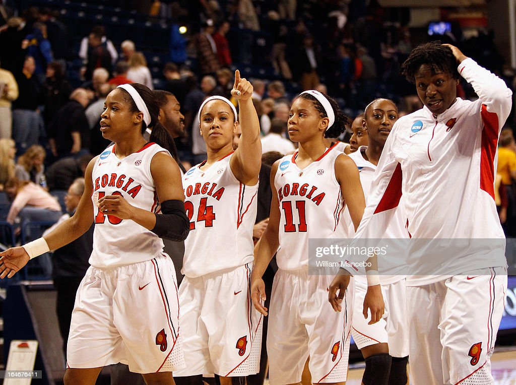 The Georgia Lady Bulldogs Women's basketball team celebrates after the game against the Iowa State Cyclones during the second round of the 2013 NCAA Women's Basketball Tournament at McCarthey Athletic Center on March 25, 2013 in Spokane, Washington. The Lady Bulldogs defeated the Cyclones 65-60.
