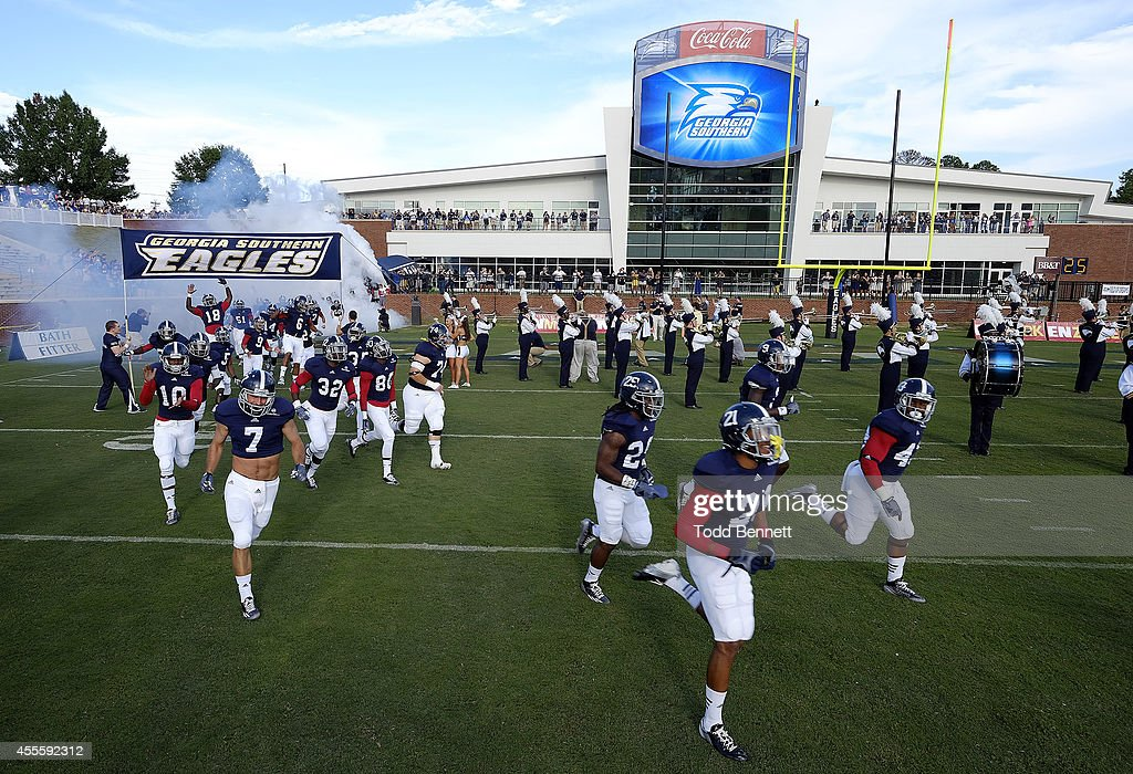 The Georgia Southern Eagles' football team takes to the field before the start of the Georgia Southern Eagles' 839 win over the Savannah State Tigers...