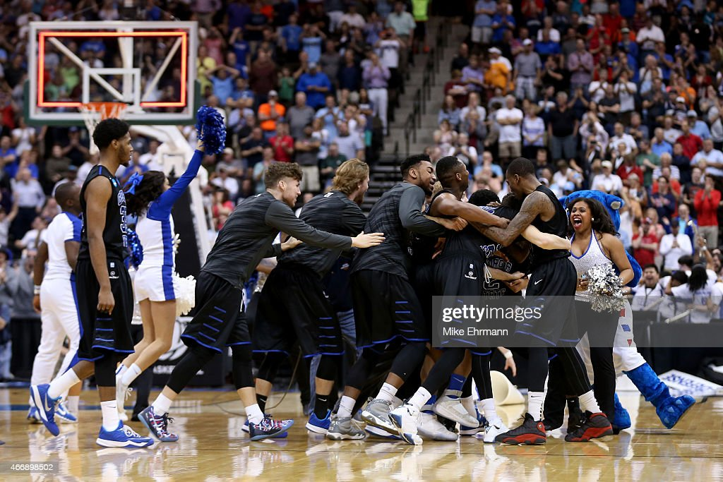 The Georgia State Panthers celebrate after the Panthers win 5756 against the Baylor Bears in the second round of the 2015 NCAA Men's Basketball...
