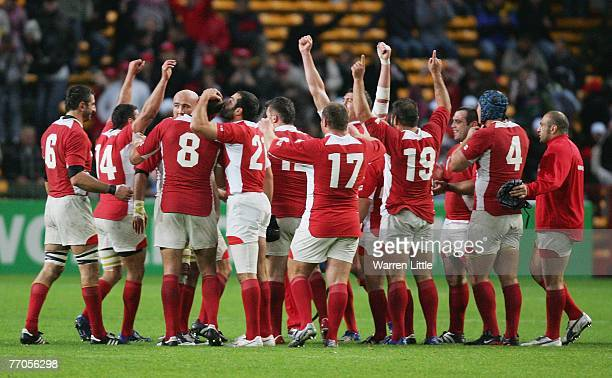 The Georgia team celebrate following their first ever World Cup victory during the Rugby World Cup 2007 Pool C match between Georgia and Namibia at...