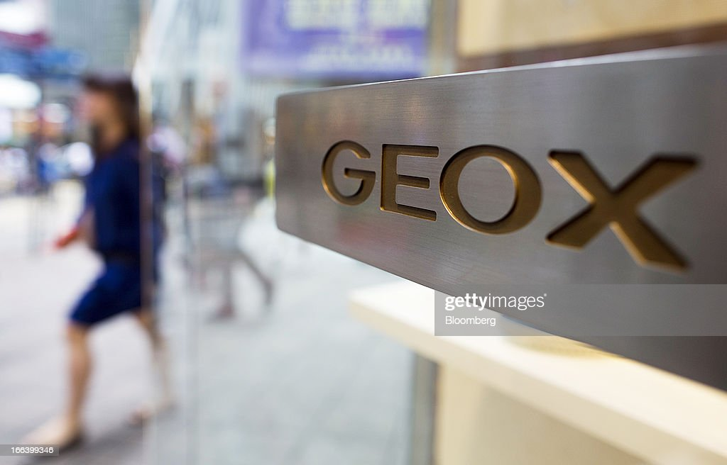 The Geox SpA logo is engraved on the door handle of the company's flagship store in the Central district of Hong Kong, China, on Friday, April 12, 2013. Hong Kong's economy expanded 1.4 percent in 2012 and Financial Secretary John Tsang is projecting growth of 1.5 percent to 3.5 percent this year. Photographer: Jerome Favre/Bloomberg via Getty Images