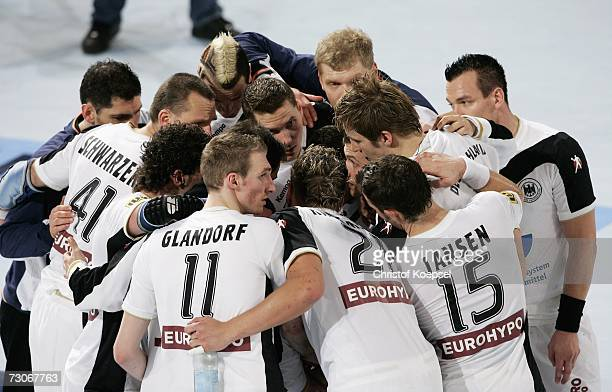 The Geram team huddle after losing 2527 in the Men's Handball World Championship Group C game between Germany and Poland at the Gerry Weber stadium...
