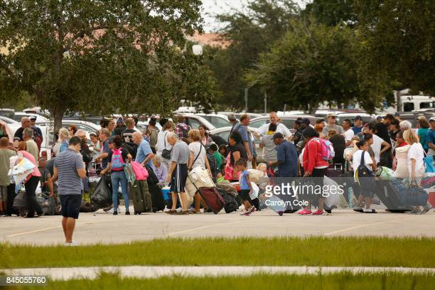 The Germain Arena in Estero Florida became an evacuation center where thousands of people flocked to on Saturday morning as Hurricane Irma approaches...