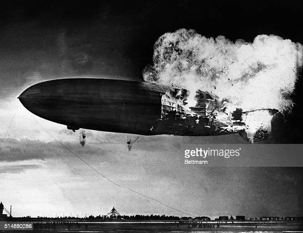 The German airship Hindenburg explodes on its landing approach to the Lakehurst Naval Air Station Thirtysix of the 97 people aboard were killed