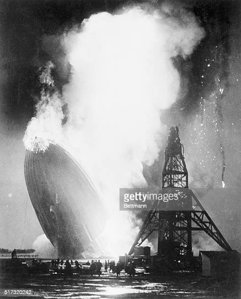The German airship Hindenburg goes down in a fireball over the Lakehurst Naval Air Station in New Jersey The Hindenburg the largest aircraft ever to...