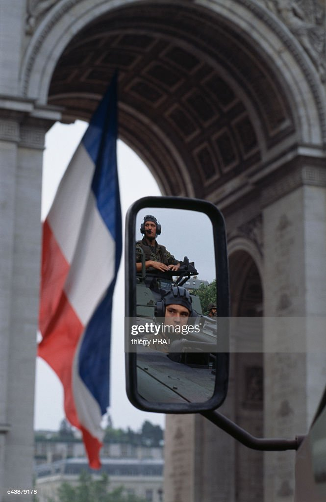The German Army taking part in the military parde in celebration of 14th July or Bastille Day for the first time on the Avenue Champs Elysée
