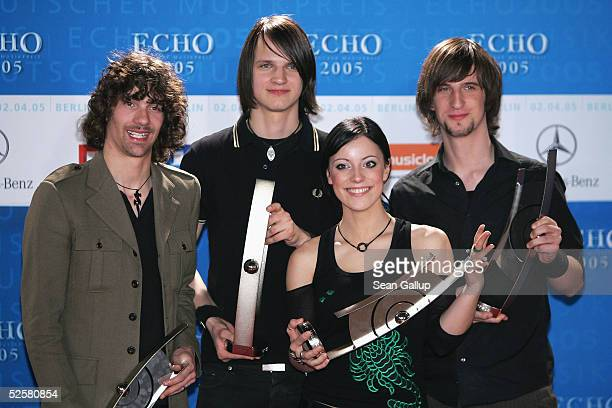 The German band Silbermond poses with an award at the ECHO 2005 German Music Awards at the Estrel Convention Center on April 2 2005 in Berlin Germany