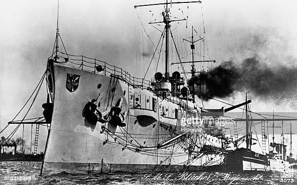The German battleship Blucher active during World War One
