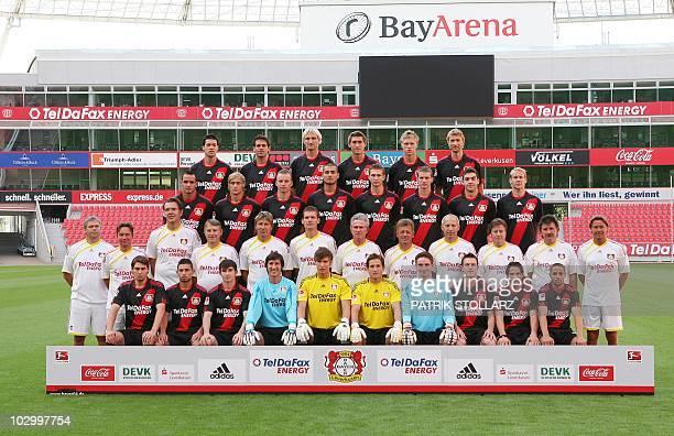 The German Bundesliga team Bayer 04 Leverkusen pose for the official team photo on July 20 2010 at the BayArena in Leverkusen Top row midfielder...