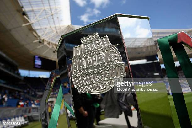 The German championship trophy of the 'Topps Match Attax Trading Card Game' is pictured prior to the Bundesliga match between 1899 Hoffenheim and FC...