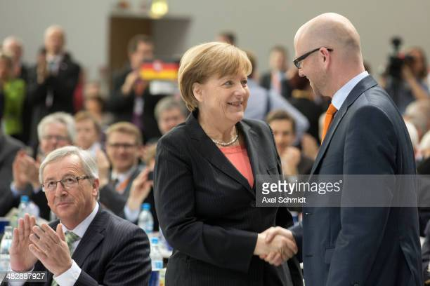 The German Chancellor and Chairwoman of the German Christian Democrats Angela Merkel congratulates newly elected CDU General Secretary Peter Tauber...