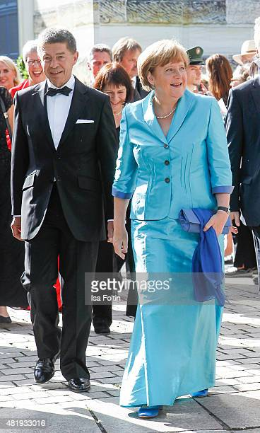The German Chancellor Angela Merkel and her husband Joachim Sauer attends the Bayreuth Festival 2015 Opening on July 25 2015 in Bayreuth Germany