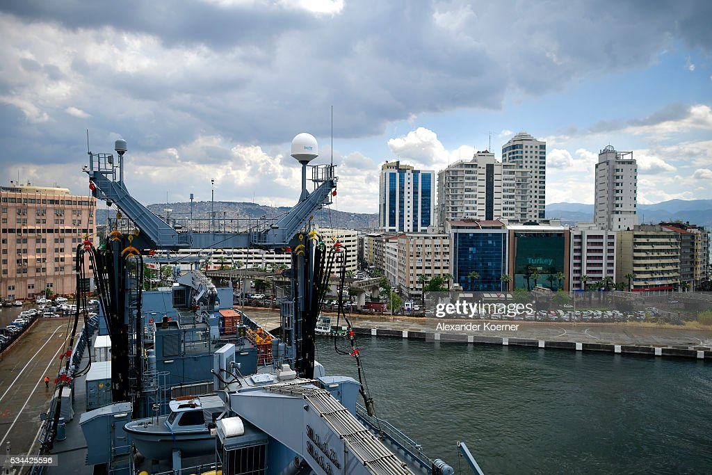 The German combat support ship 'Bonn' is docked at the port of Izmir on May 26, 2016 in Izmir, Turkey. NATO's Standing Maritime Group 2 is currently deployed in the region between the mainland of Greece and Turkey, and will conduct surveillance and monitor illegal crossings in the Aegean Sea. The number of attempts by refugees to reach the islands of Greece has dropped rapidly.