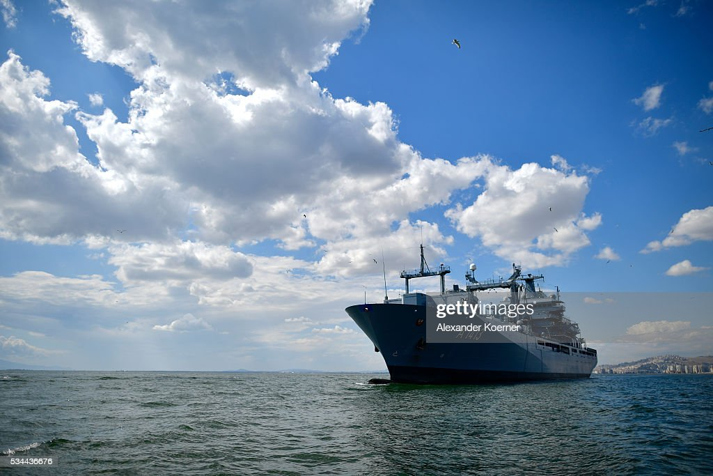 The German combat support ship 'Bonn' is seen at the bay of Izmir on May 26, 2016 in Izmir, Turkey. NATO's Standing Maritime Group 2 is currently deployed in the region between the mainland of Greece and Turkey, and will conduct surveillance and monitor illegal crossings in the Aegean Sea. The number of attempts by refugees to reach the islands of Greece has dropped rapidly.
