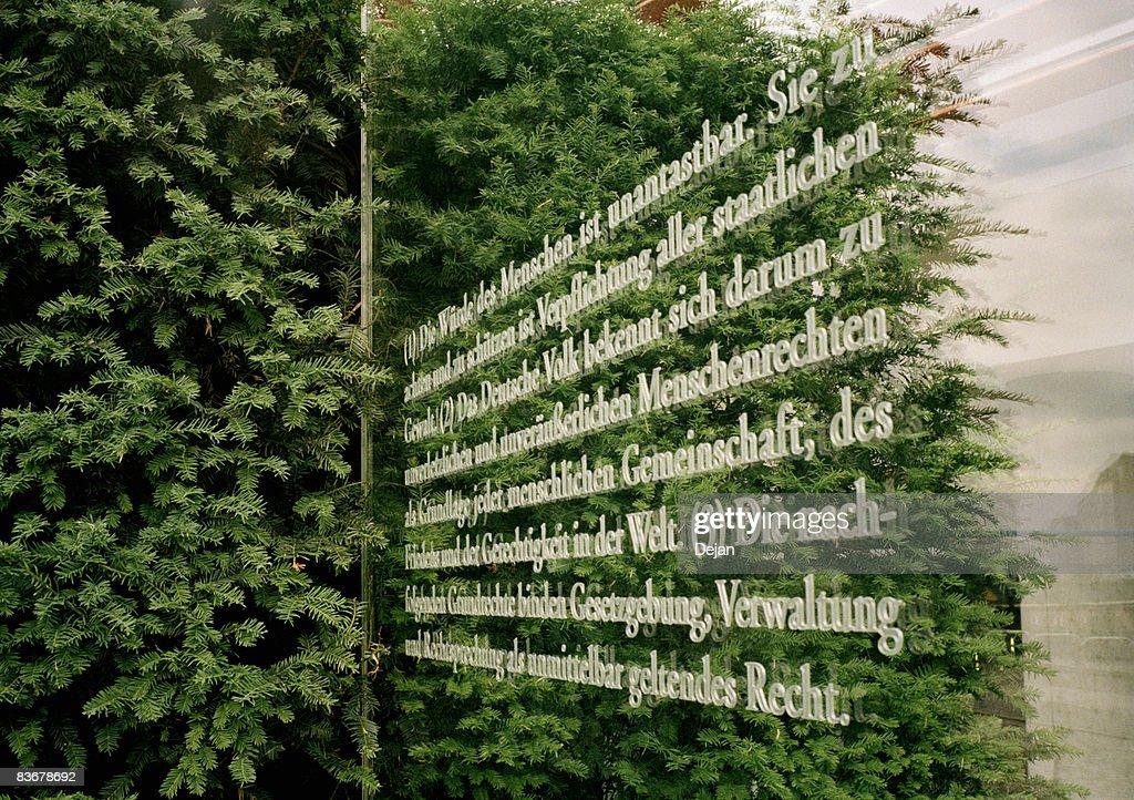 The German constitution written onto glass, Berlin