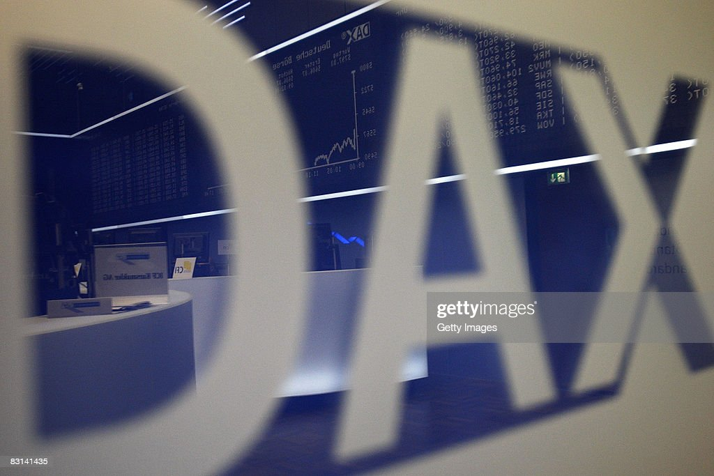 The German DAX index is seen at Frankfurt stock exchange on October 06 2008 in Frankfurt Germany German stocks fell the most in eight months sending...