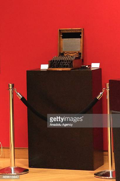 The German Enigma machine is seen at the Bonhams during an auction in New York on April 13 2015 The Enigma Machine which features a handwritten...