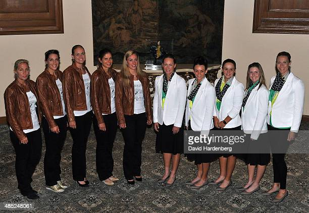 The German Fed Cup team Coach Barbara Rittner Anna Petkovic AnnaLena Groenefeld Julia Goerges and Angelique Kerber and the Australian Federation Cup...
