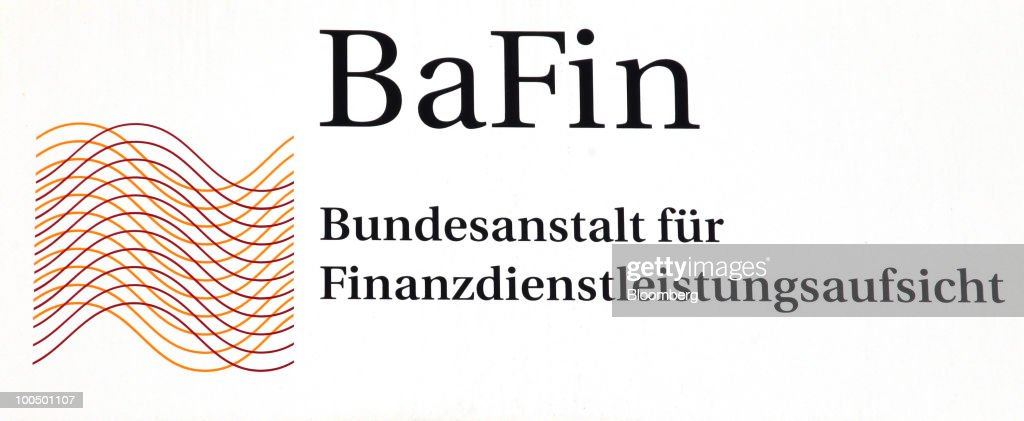The German Federal Financial Supervisory Authority (BaFin) logo is seen at the regulator's offices in Frankfurt, Germany, on Tuesday, May 25, 2010. Germany's unilateral move to curb speculative trading of government bonds and some naked short selling last week forced lawyers to work long hours to interpret rules enacted with less than a day's notice. Photographer: Hannelore Foerster/Bloomberg via Getty Images