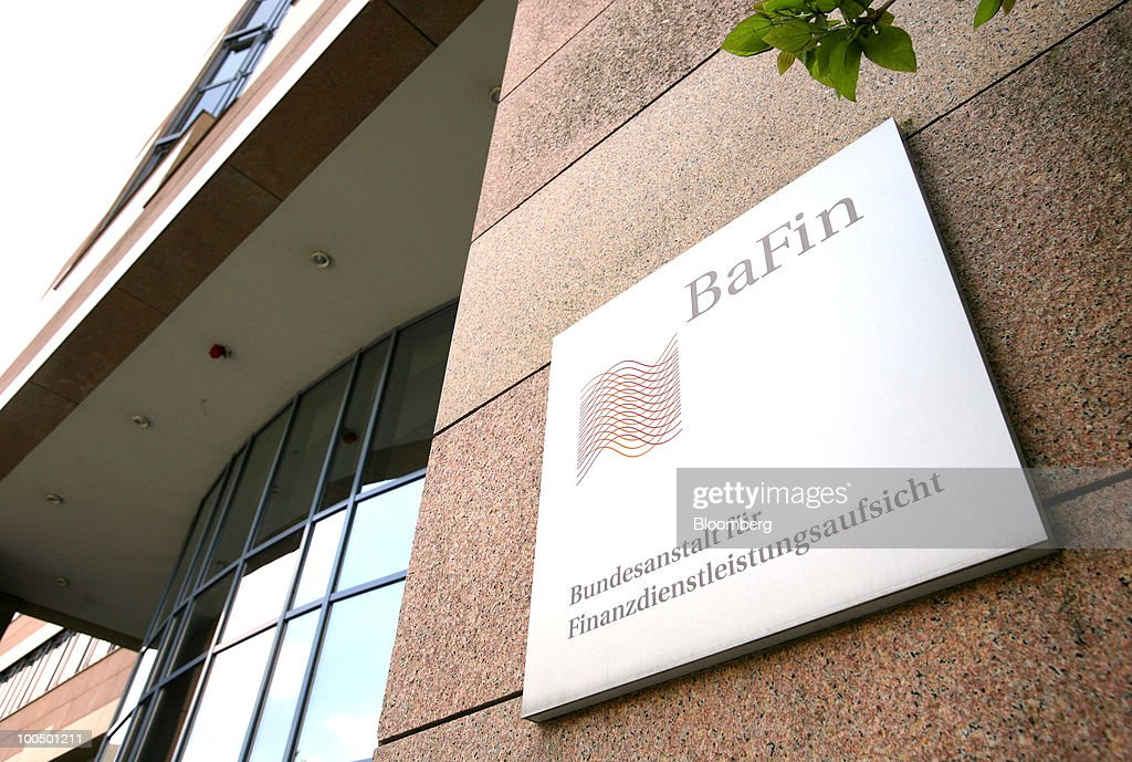 The German Federal Financial Supervisory Authority (BaFin) logo is seen on the regulator's offices in Frankfurt, Germany, on Tuesday, May 25, 2010. Germany's unilateral move to curb speculative trading of government bonds and some naked short selling last week forced lawyers to work long hours to interpret rules enacted with less than a day's notice. Photographer: Hannelore Foerster/Bloomberg via Getty Images