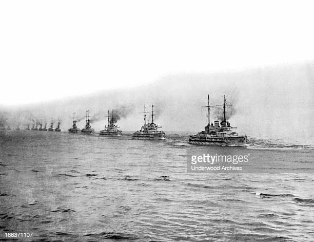 The German fleet in battle formation which will surrender today to the British Admiral Sir David Beatty November 19 1918 The fleet is to be held...