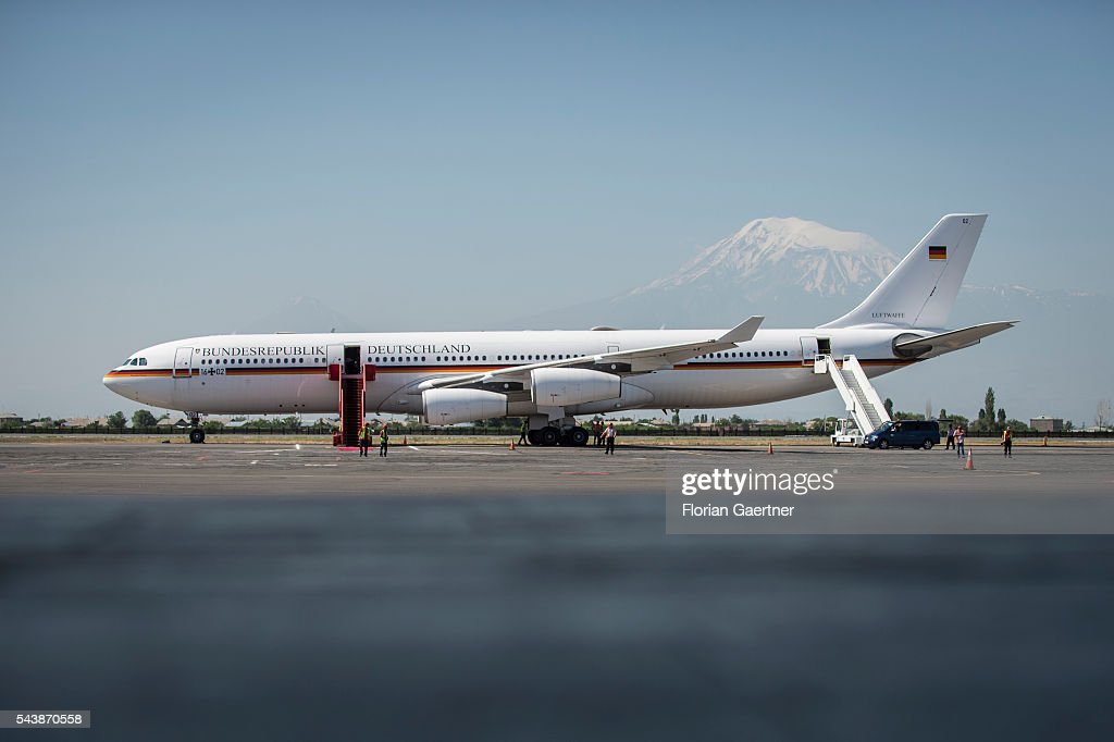 The german government aircraft at the airport in front of the turkish mountain Ararat on June 30, 2016 in Yerewan, Armenia. He visits the south caucasian countries Armenia, Azerbaijan and Georgia for political conversations.