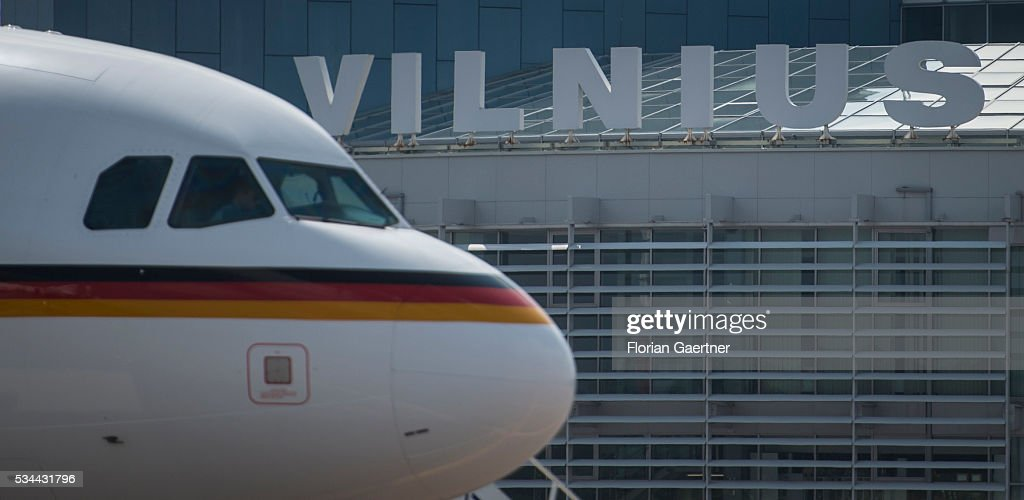 The german government plane is placed at the airport on May 26, 2016 in Vilnius, Lithuania. Steinmeier travels to Lithuania, Latvia and Estonia for political conversations.