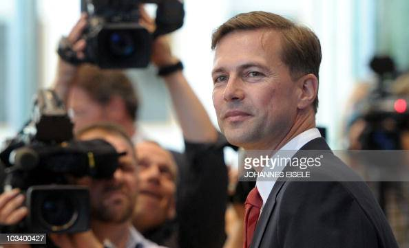The German government's new spokesman Steffen Seibert arrives for his first press conference on August 16 2010 in Berlin AFP PHOTO / JOHANNES EISELE