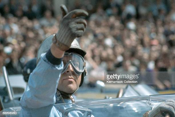The German Grand Prix Nürburgring August 6 1961 Wolfgang von Trips signals that he is ready for the start He would finish second to Stirling Moss in...